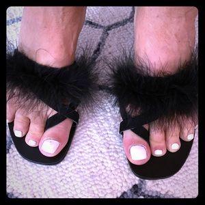 Topshop  feather black sandal